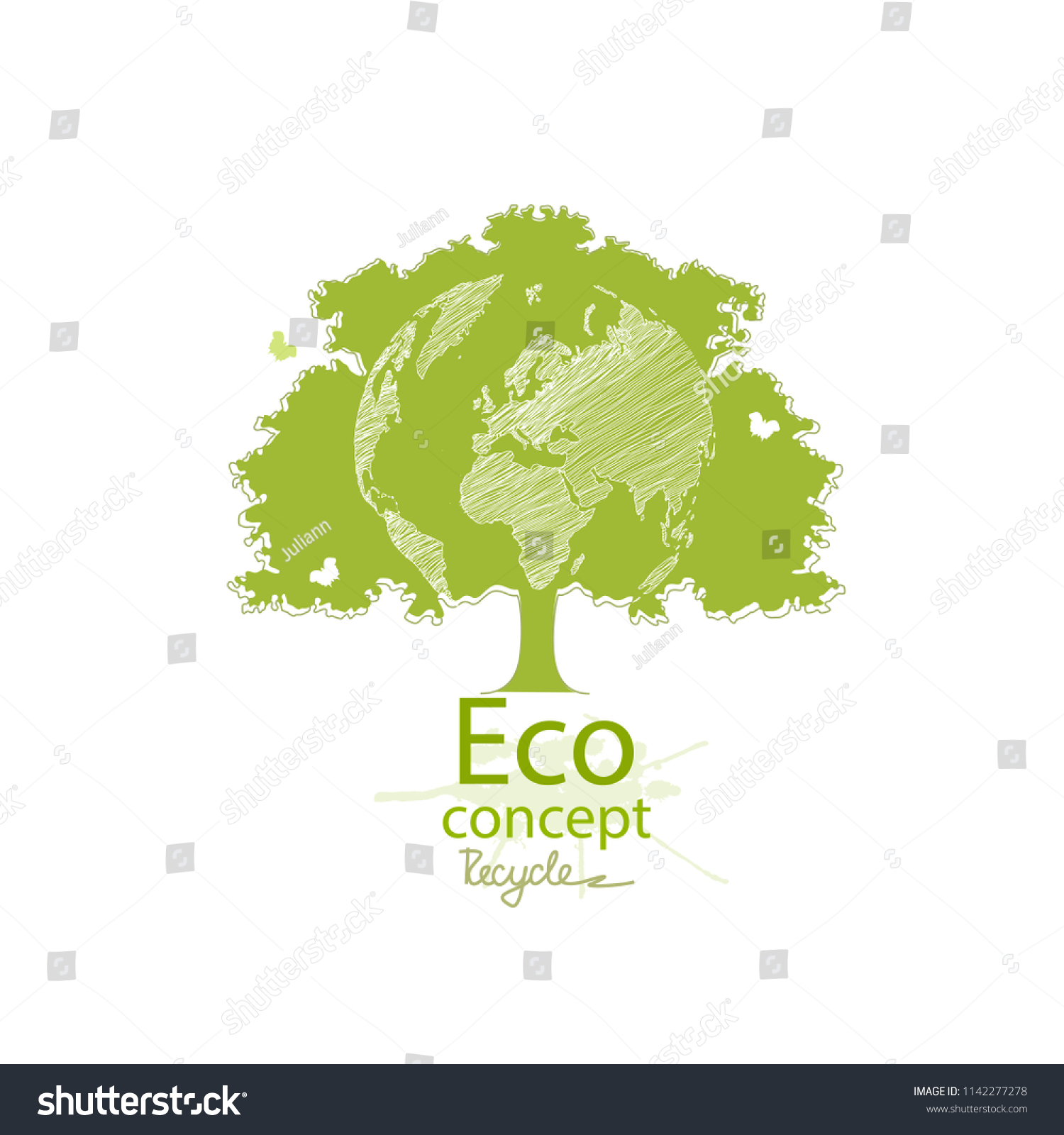 Green Globe On Tree Tree Globe Stock Vector Royalty Free