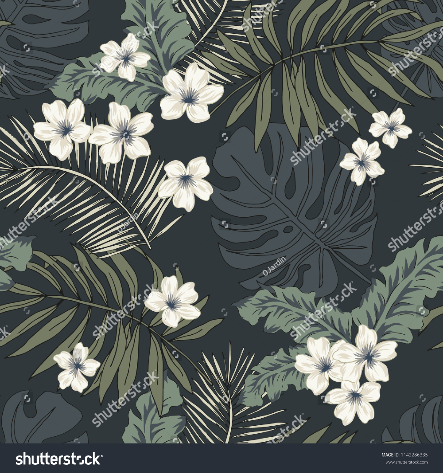 Tropical plumeria flowers and palm leaves on the black background. Vector seamless pattern. Jungle night illustration. Exotic plants. Summer beach floral design for men. Paradise nature. Dark color