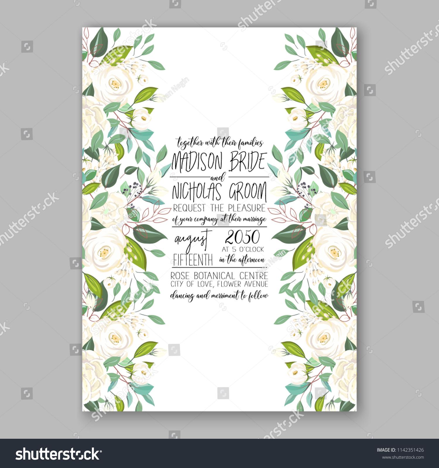 Floral Wedding Invitation Vector Template White Stock