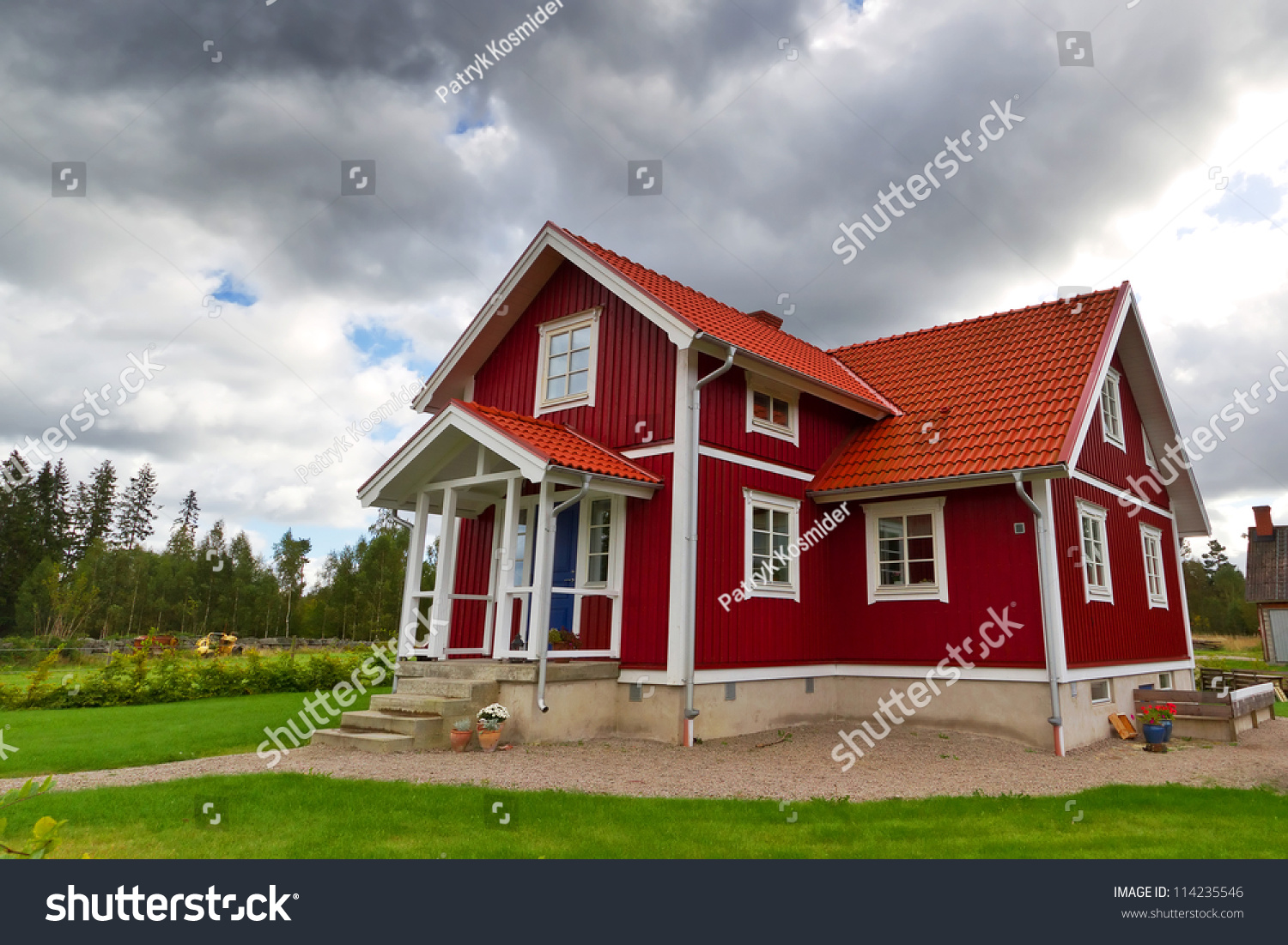 Traditional Red Swedish Cottage House Stock Photo