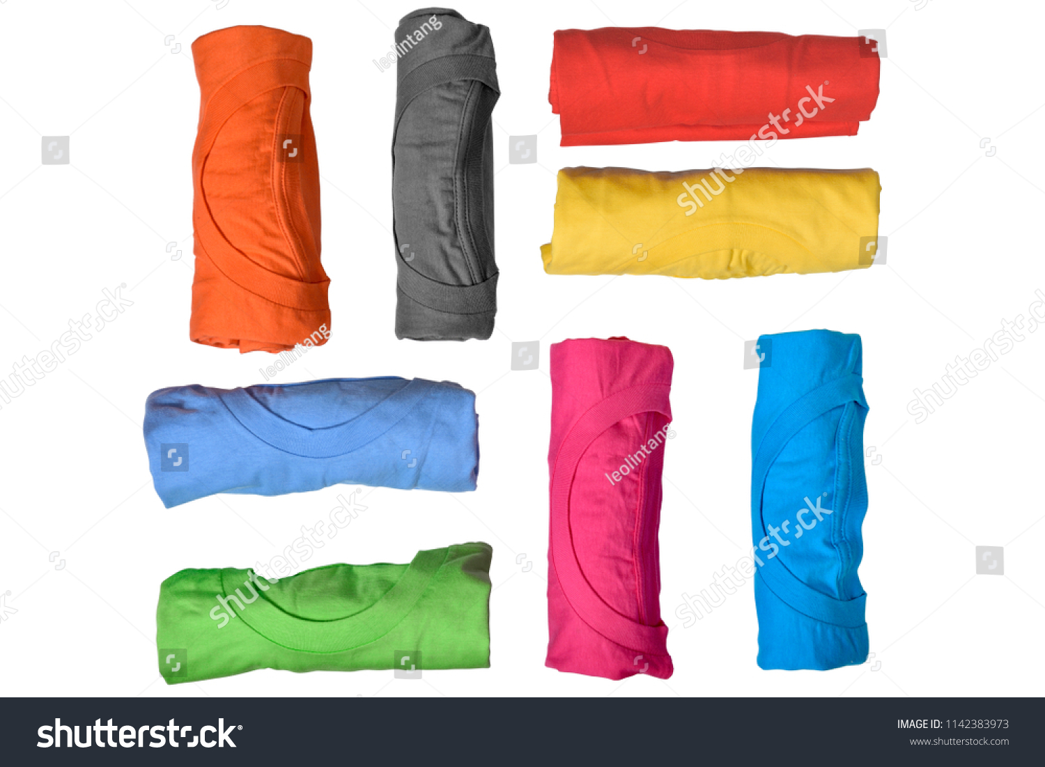 Set of colorful rolled clothes isolated over white background #1142383973