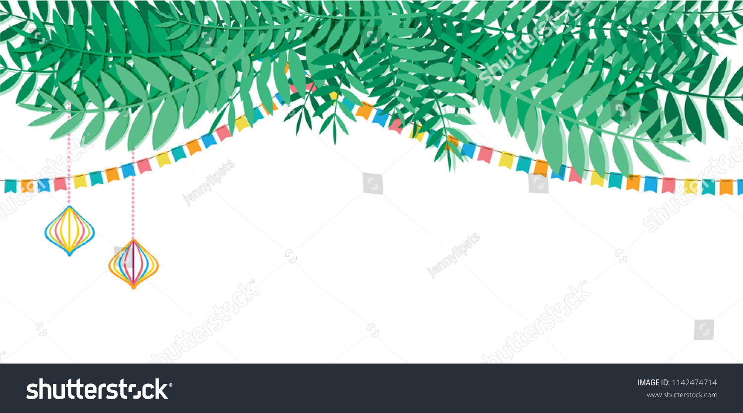 Vector Illustration Traditional Sukkah Jewish Holiday Stock Vector