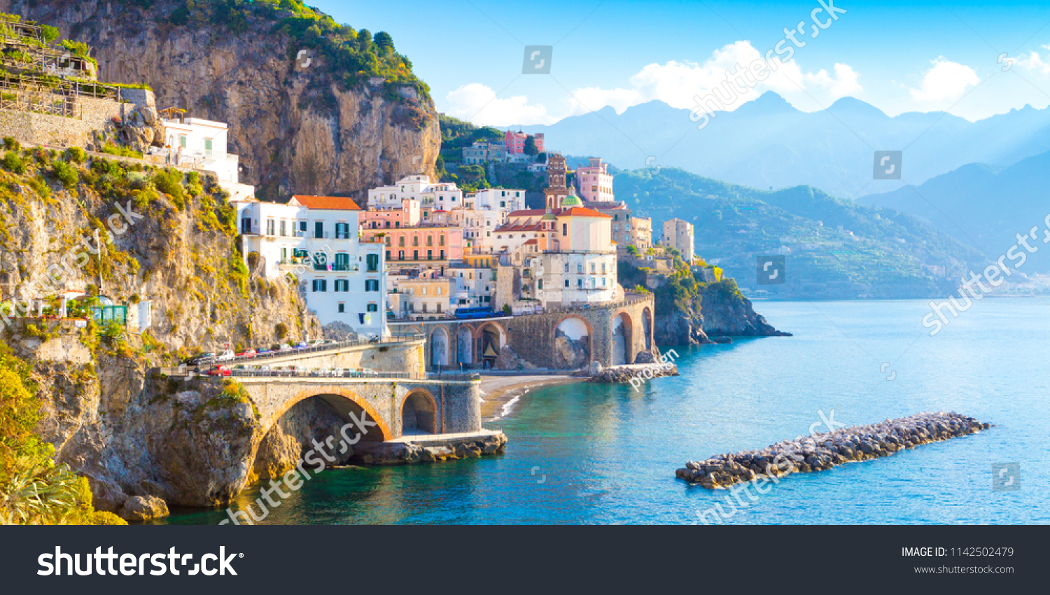 Morning view of Amalfi cityscape on coast line of mediterranean sea, Italy #1142502479