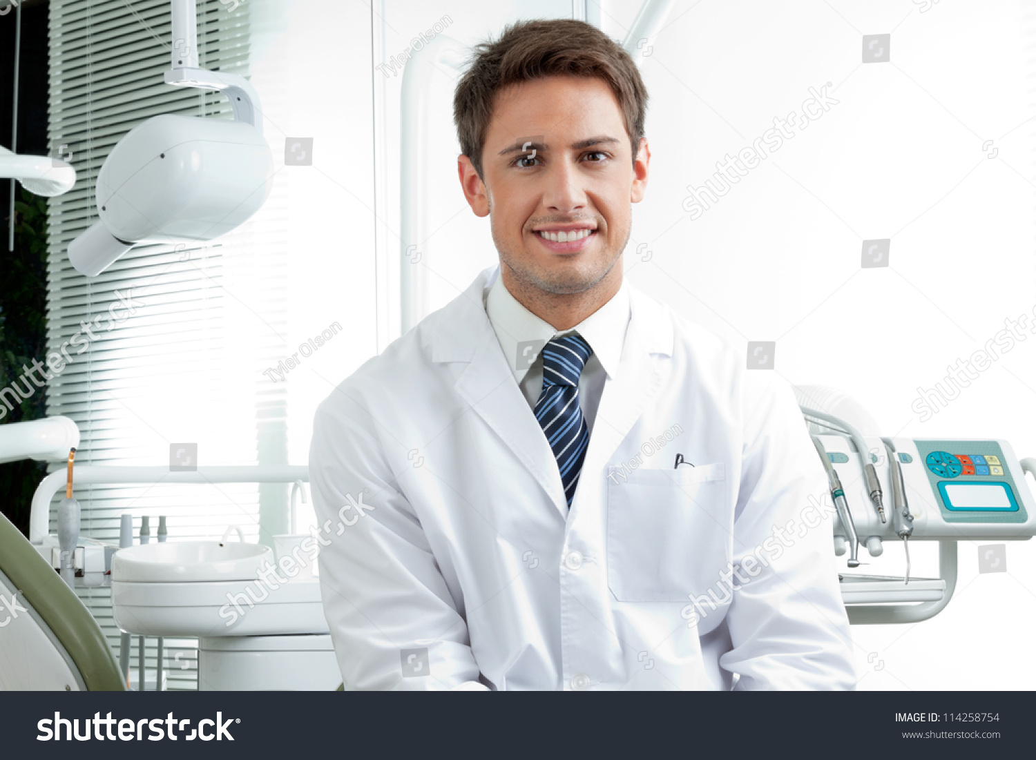 Portrait Happy Male Dentist Wearing Lab Stock Photo 114258754