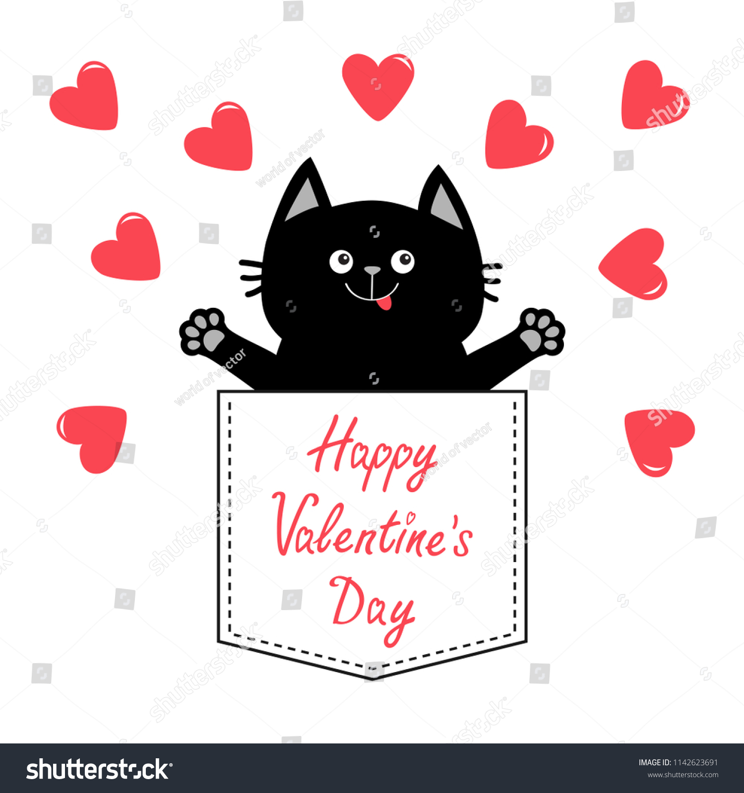 1d6284022c2 Happy Valentines Day. Cat in pink pocket. Red heart Love card. Hands up.  Give me a hug. Cute cartoon pet animal. Kitten kitty character. White  background.