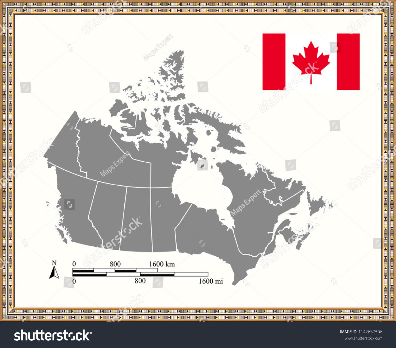 Canada Mileage Map Canada Map Outline Vector Mileage Kilometer Stock Vector (Royalty