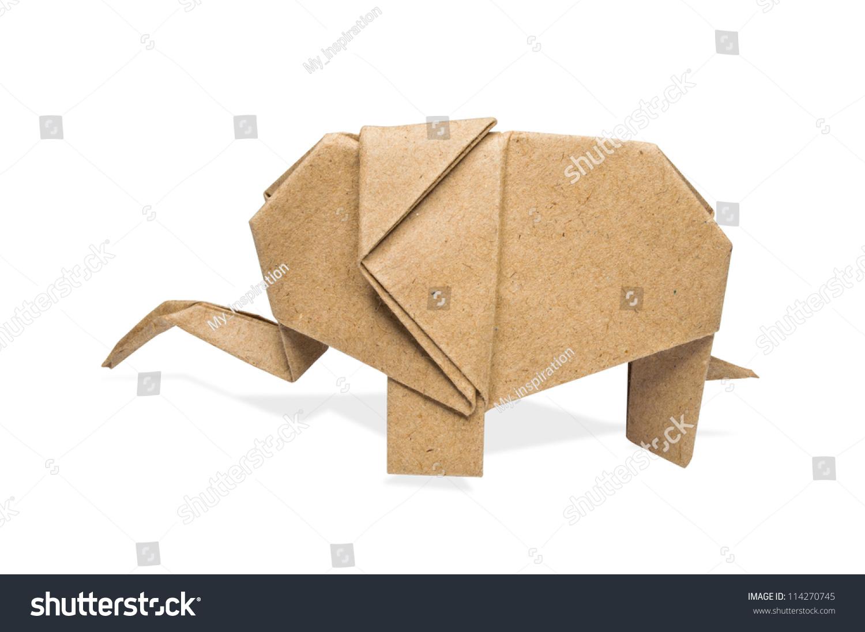 Origami elephant recycle paper on white stock photo 114270745 origami elephant recycle paper on a white background jeuxipadfo Choice Image