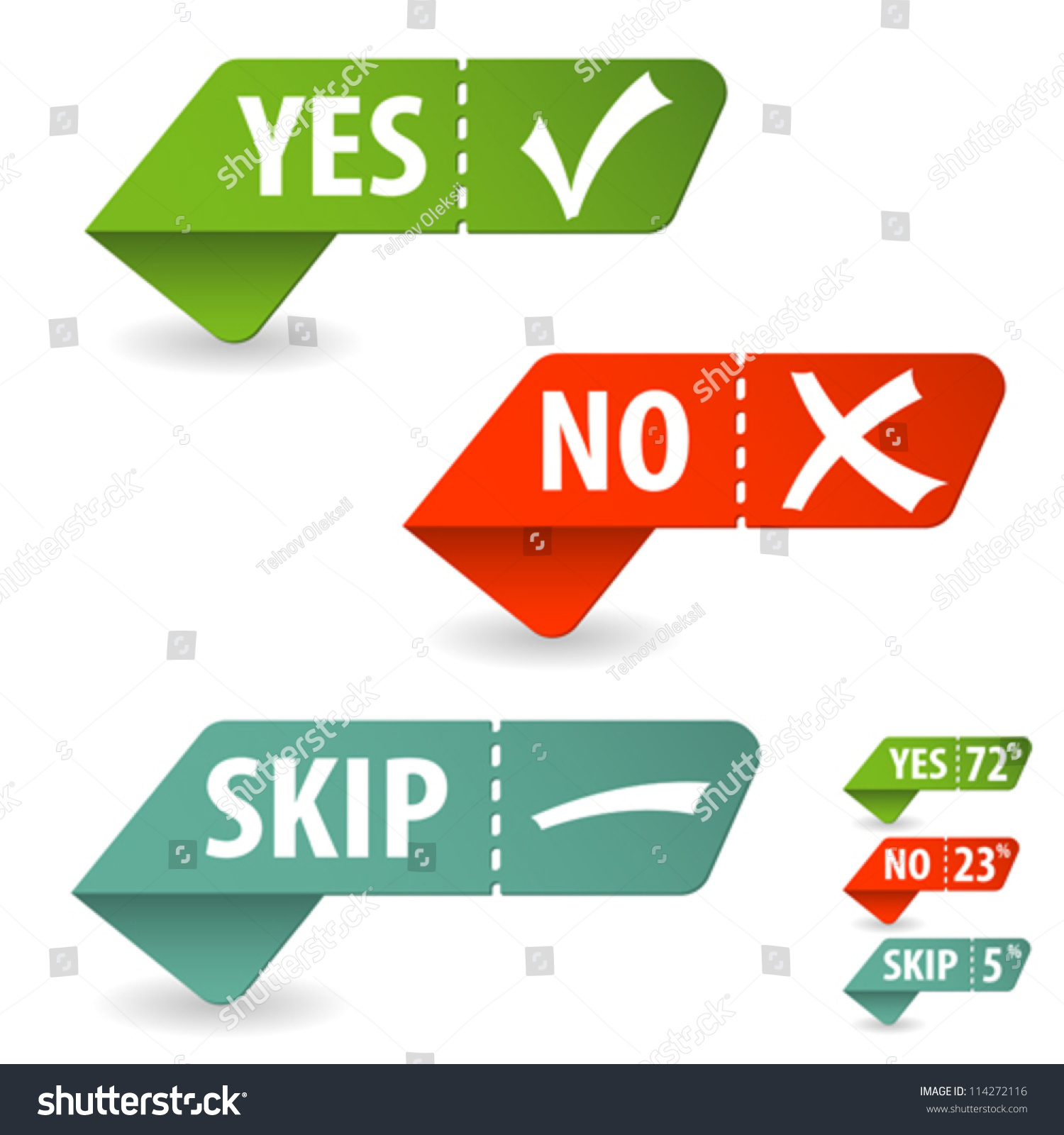 Collect sticker with yes no and skip check mark isolated Collect and save