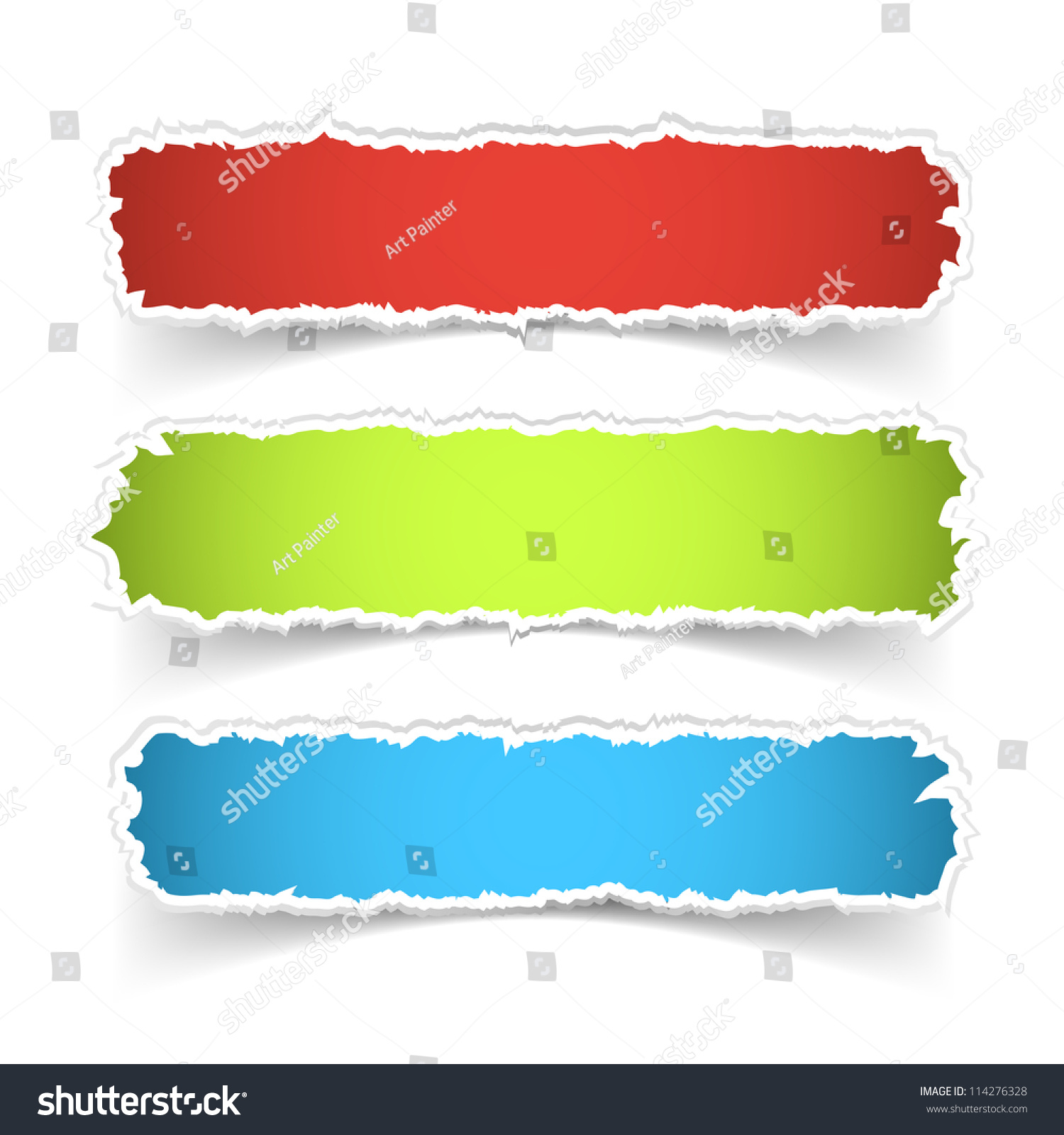 Vector Colorful Torn Paper Banner Set Stock Vector 114276328 ...