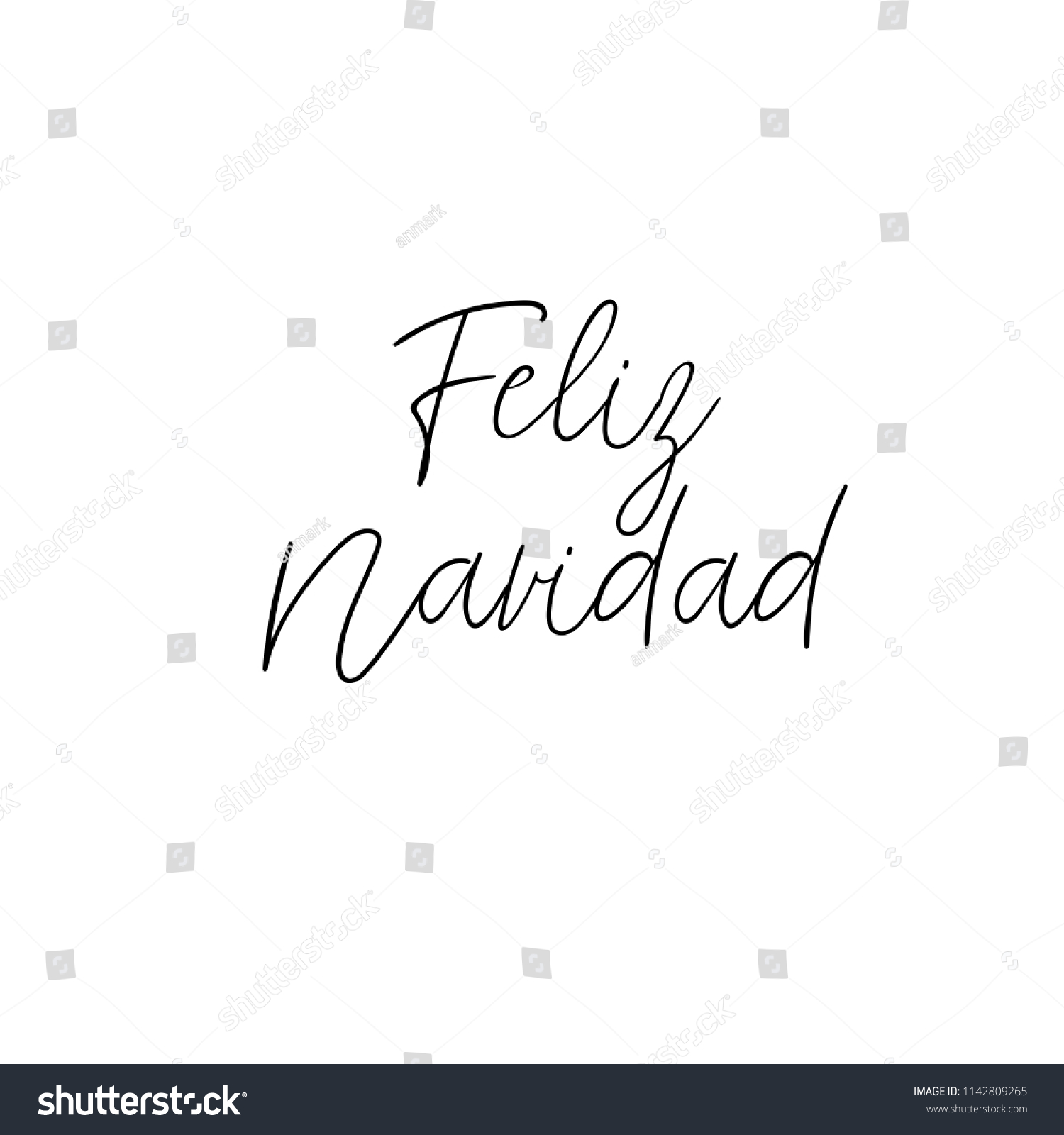 Feliz Navidad Hand Lettering Greeting Card Stock Vector Royalty
