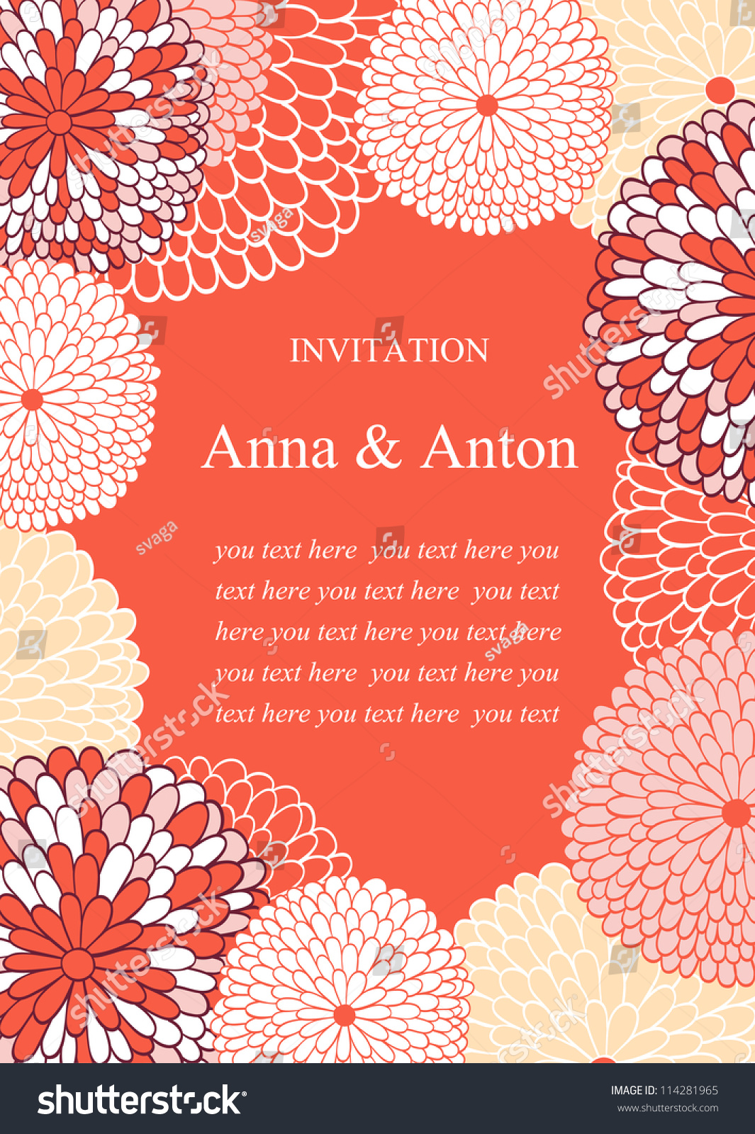 Wedding Invitation Floral Romantic Vector Background Pink Stock ...