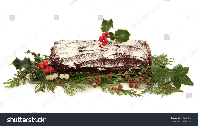 Decorating Ideas > Yule Log Chocolate Christmas Cake With Flora Decoration Of  ~ 115459_Log Cake Decoration Ideas