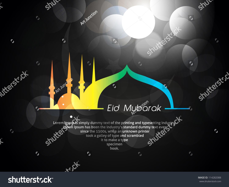 Beautiful eid mubarak card design nice stock vector 114282088 beautiful eid mubarak card design with nice colorful mosque and black background eps 10 kristyandbryce Choice Image