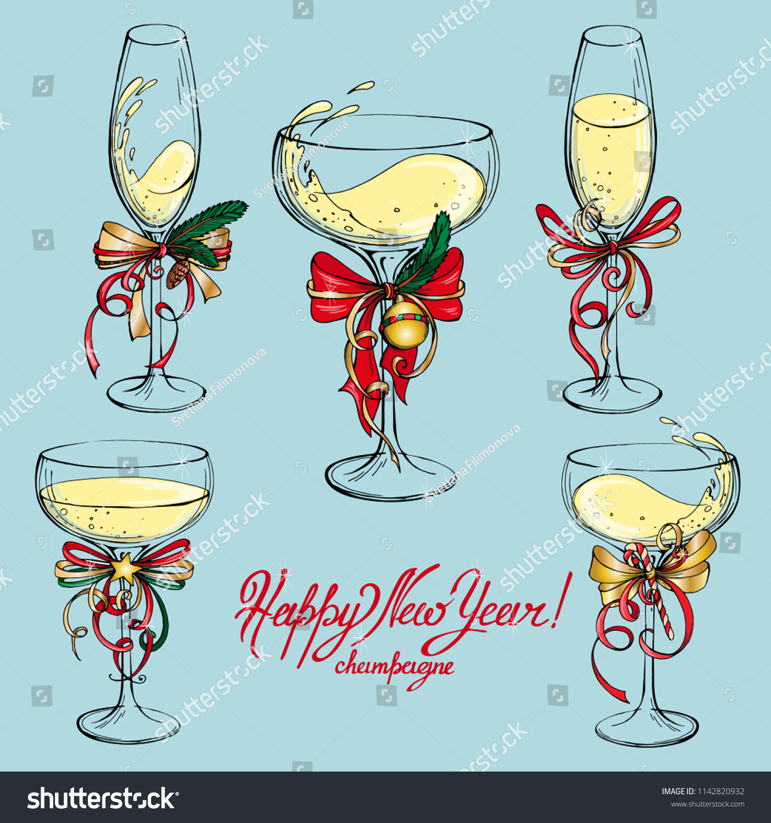 vector set of champagne glasses with new year decor and words champagne happy new