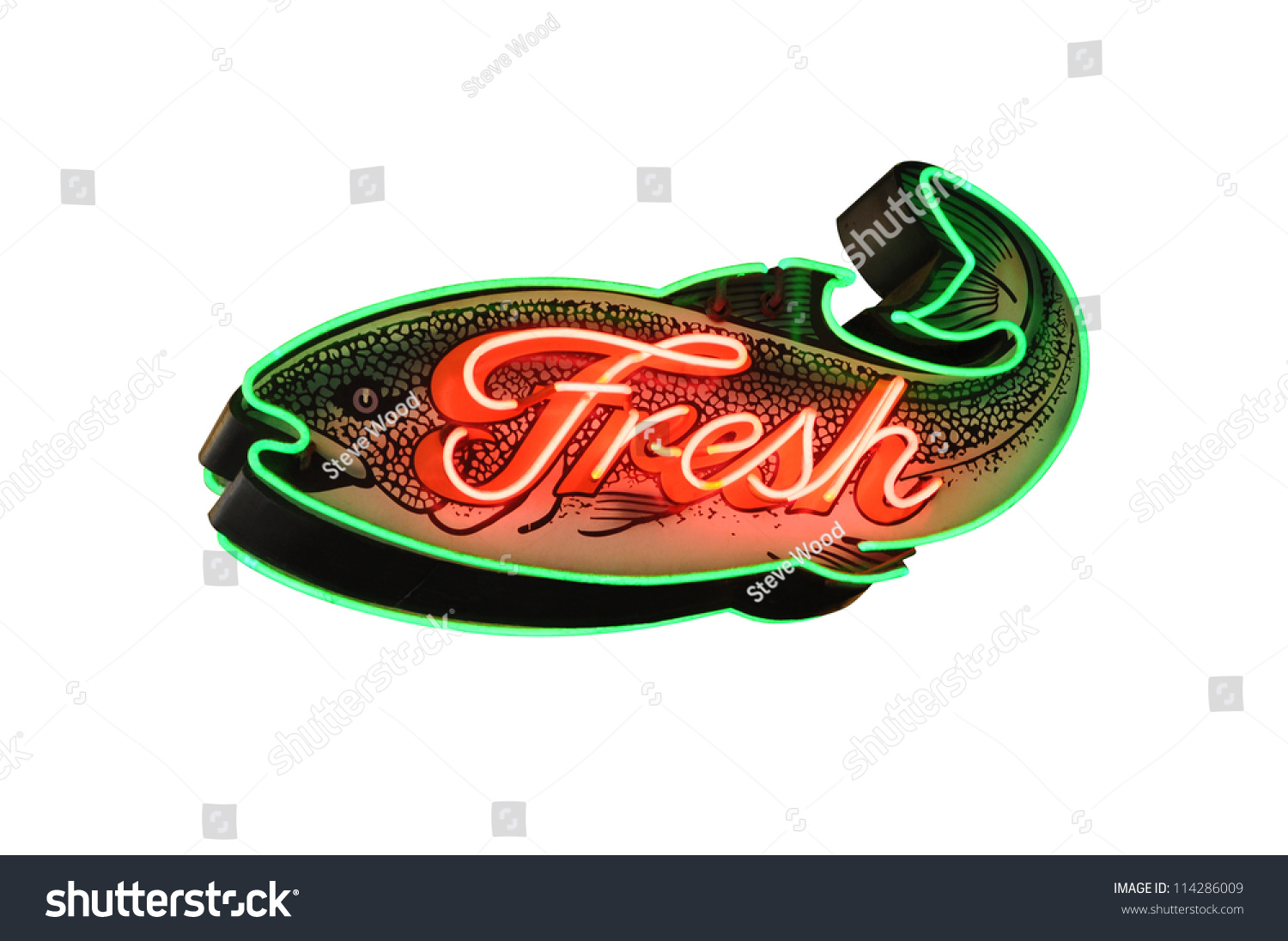 Fresh fish neon sign isolated on white stock photo for Fish neon sign