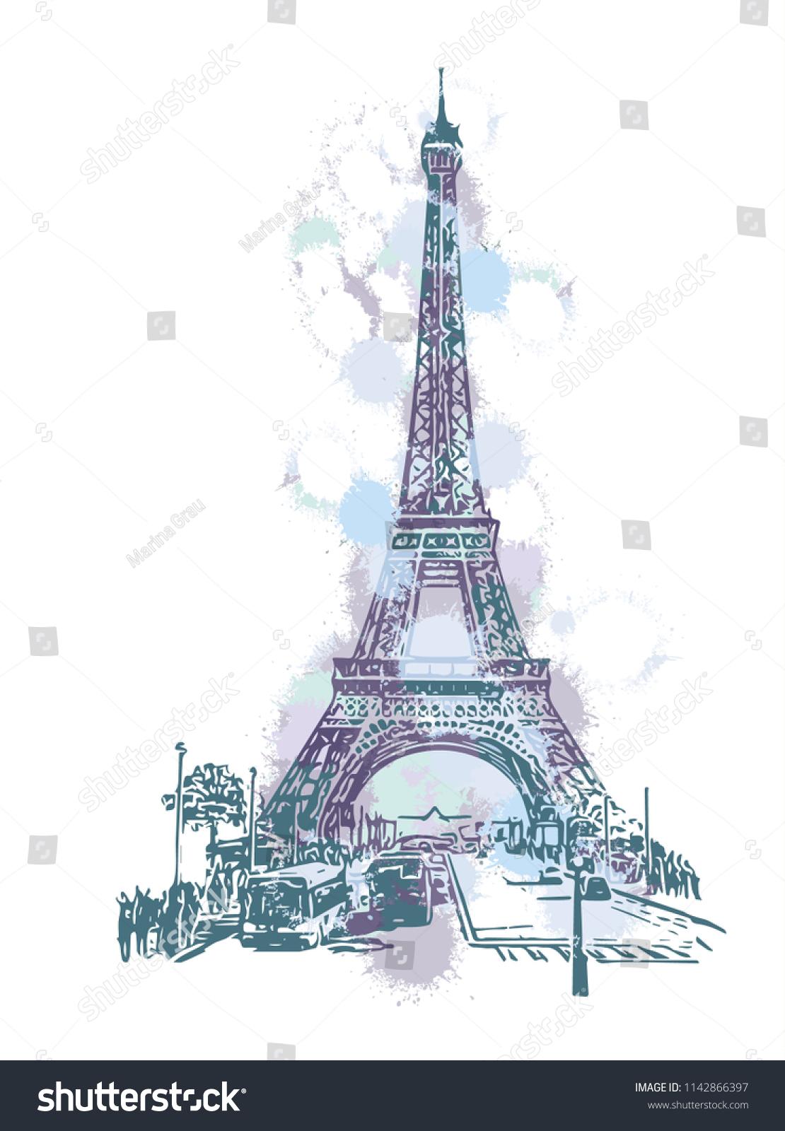 france paris eiffel tower vector line drawing sketch ez canvas