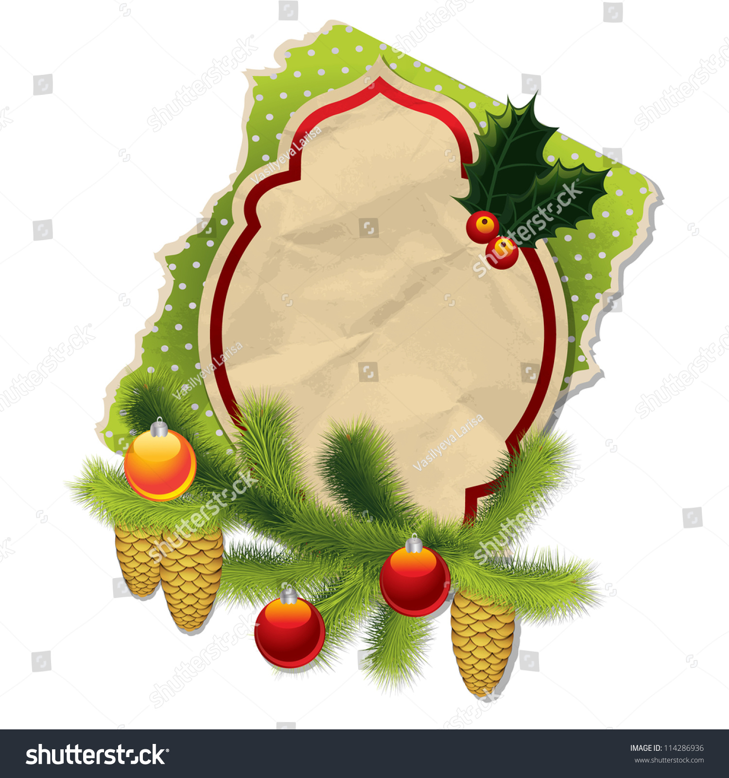 Christmas background vintage paper label fur stock vector for Fir cone christmas tree decorations