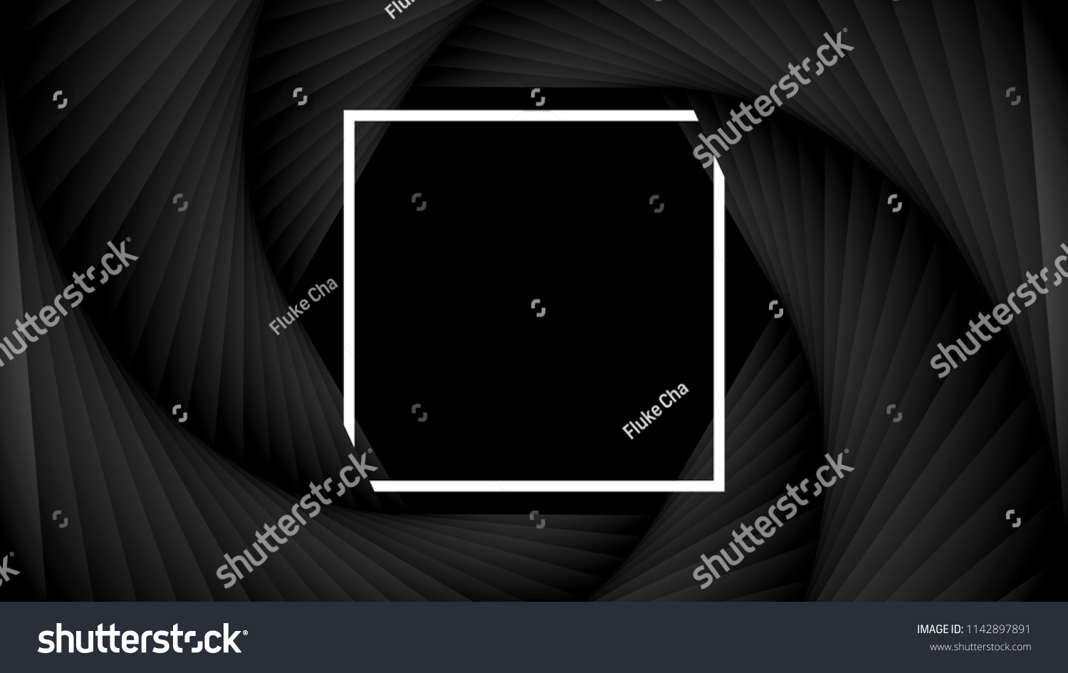 Black camera shutter lens aperture concept with white frame on the center. Abstract background illustration vector