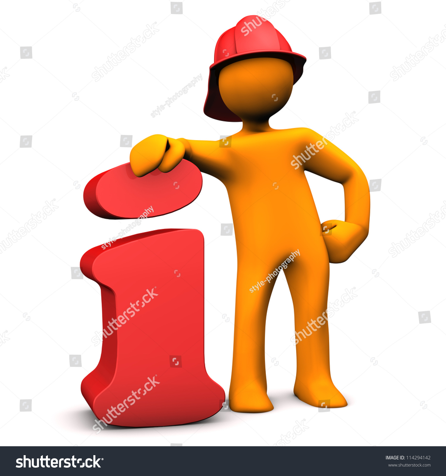 Orange cartoon character as fireman with info symbol. White background. 1676bbdad794