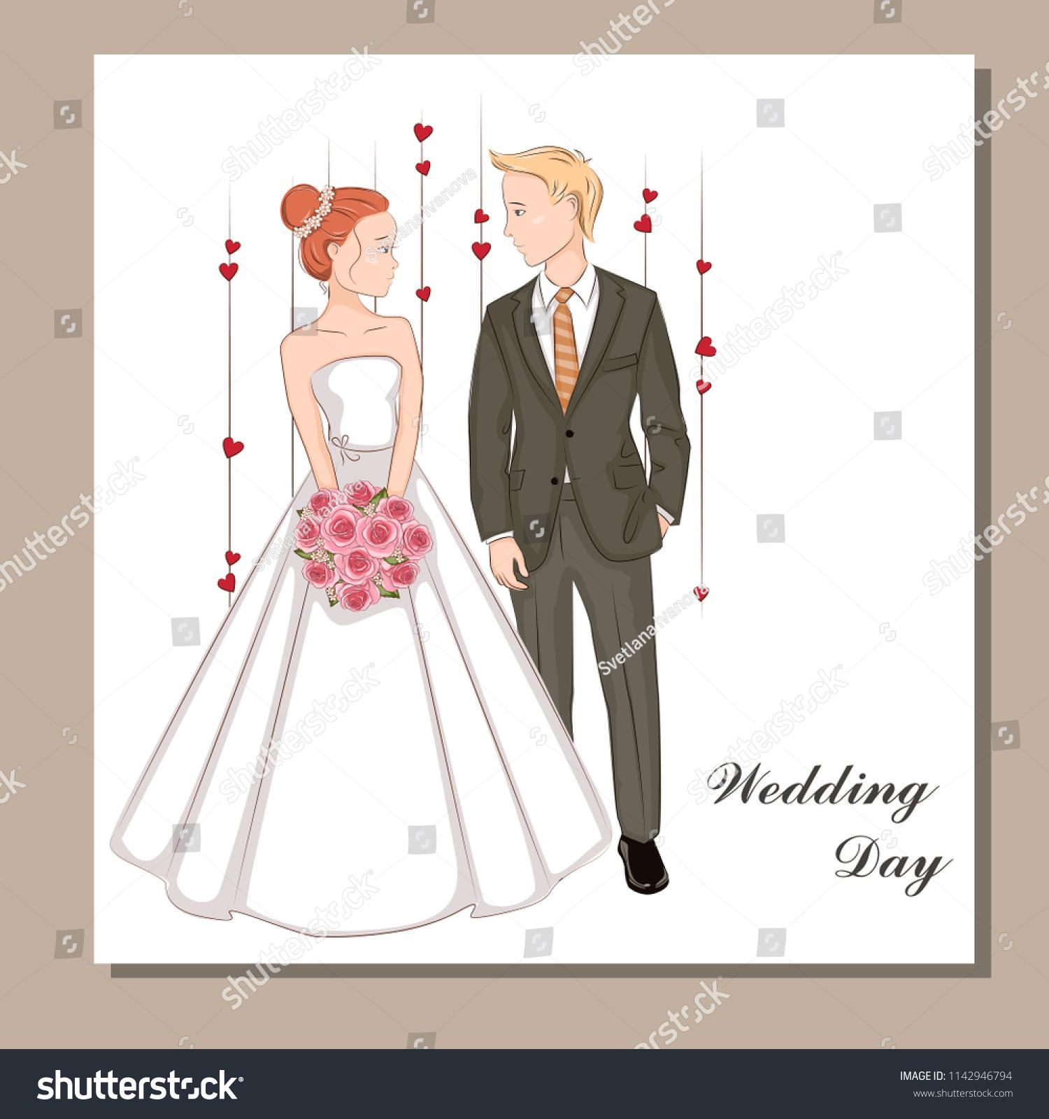 Wedding Invitation Bride Groom Stock Vector 1142946794 - Shutterstock