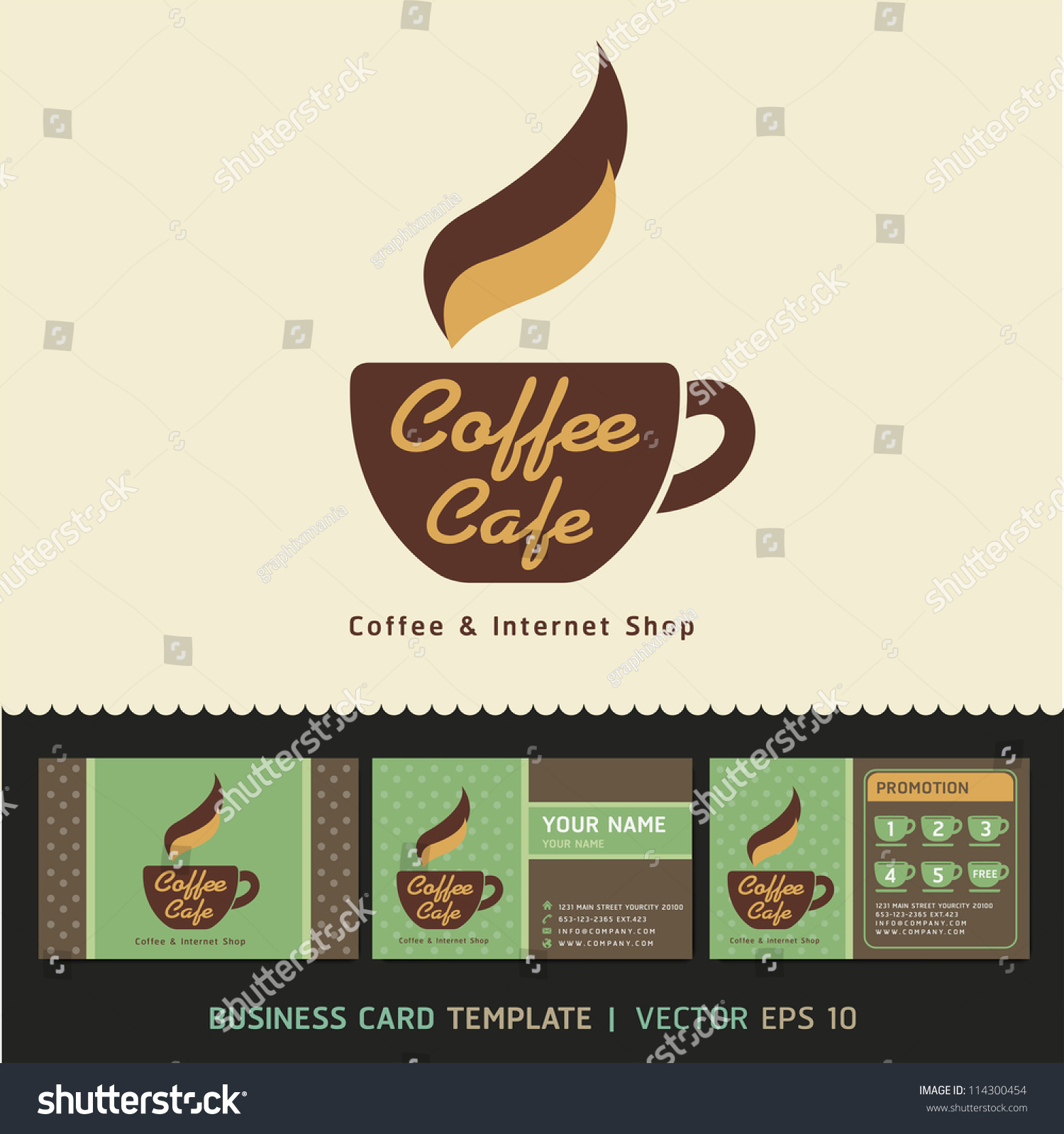 Coffee Cafe Icon Logo Business Cards Stock Vector Royalty Free