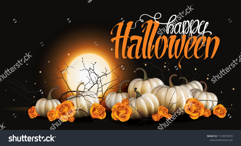 halloween background white pumpkins orange roses stock vector