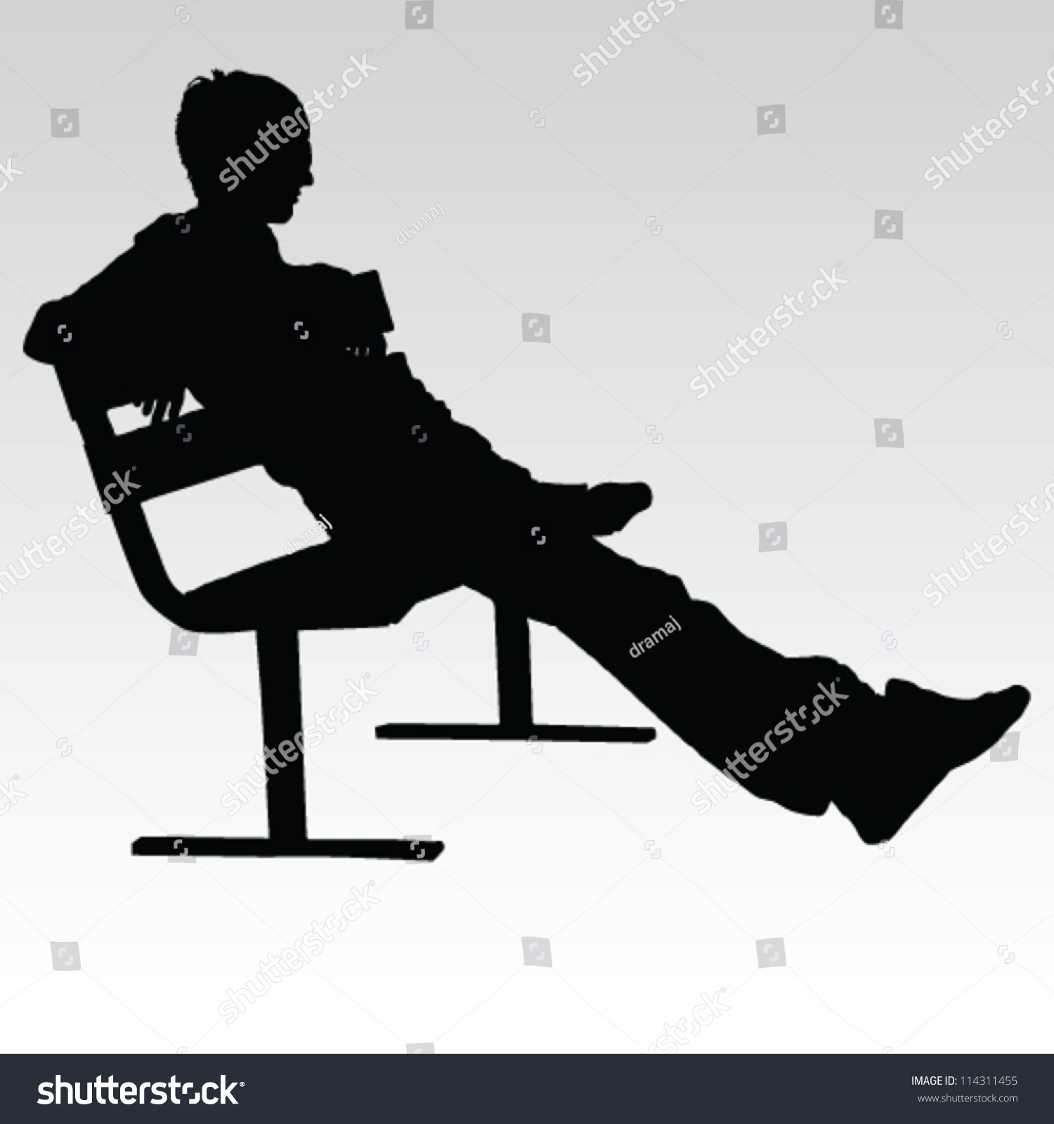 Royalty-free Man sitting on a bench and resting… #114311455 Stock ... for People On Bench Silhouette  588gtk