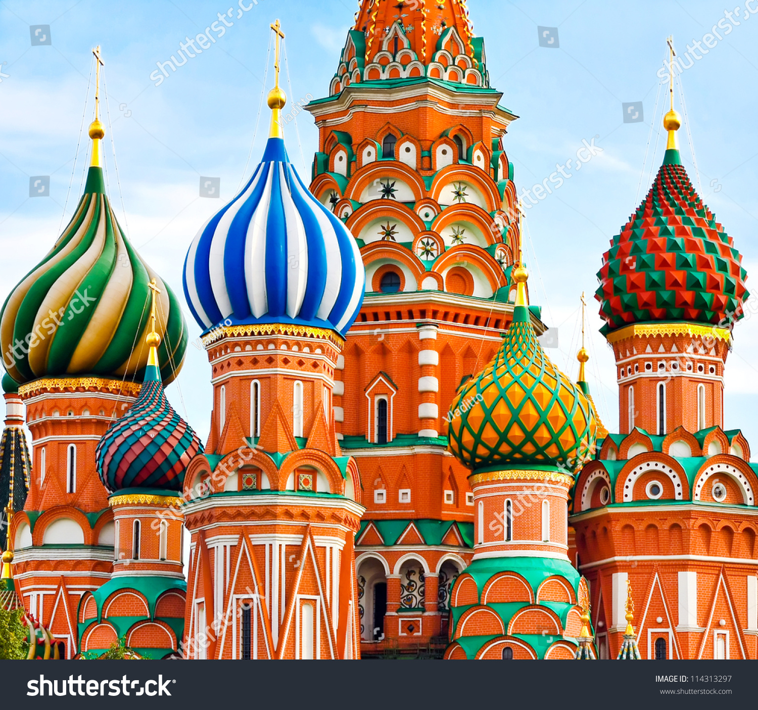 Cathedral Vasily Blessed Red Square Stock