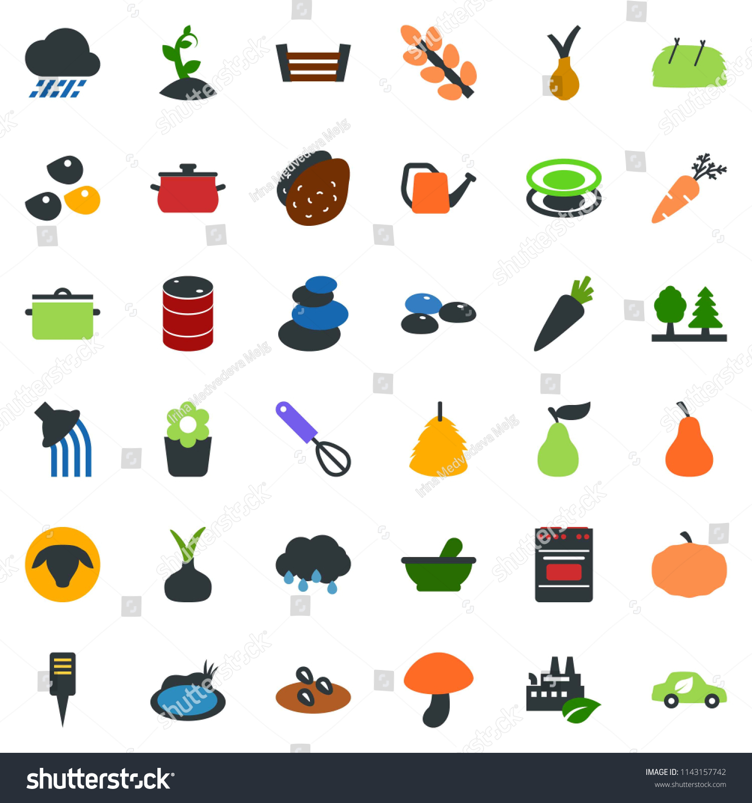 Colored Vector Icon Set Seeds Stock Royalty Free Potato Battery Diagram How To Make A Sheep Mushroom Manger Hay