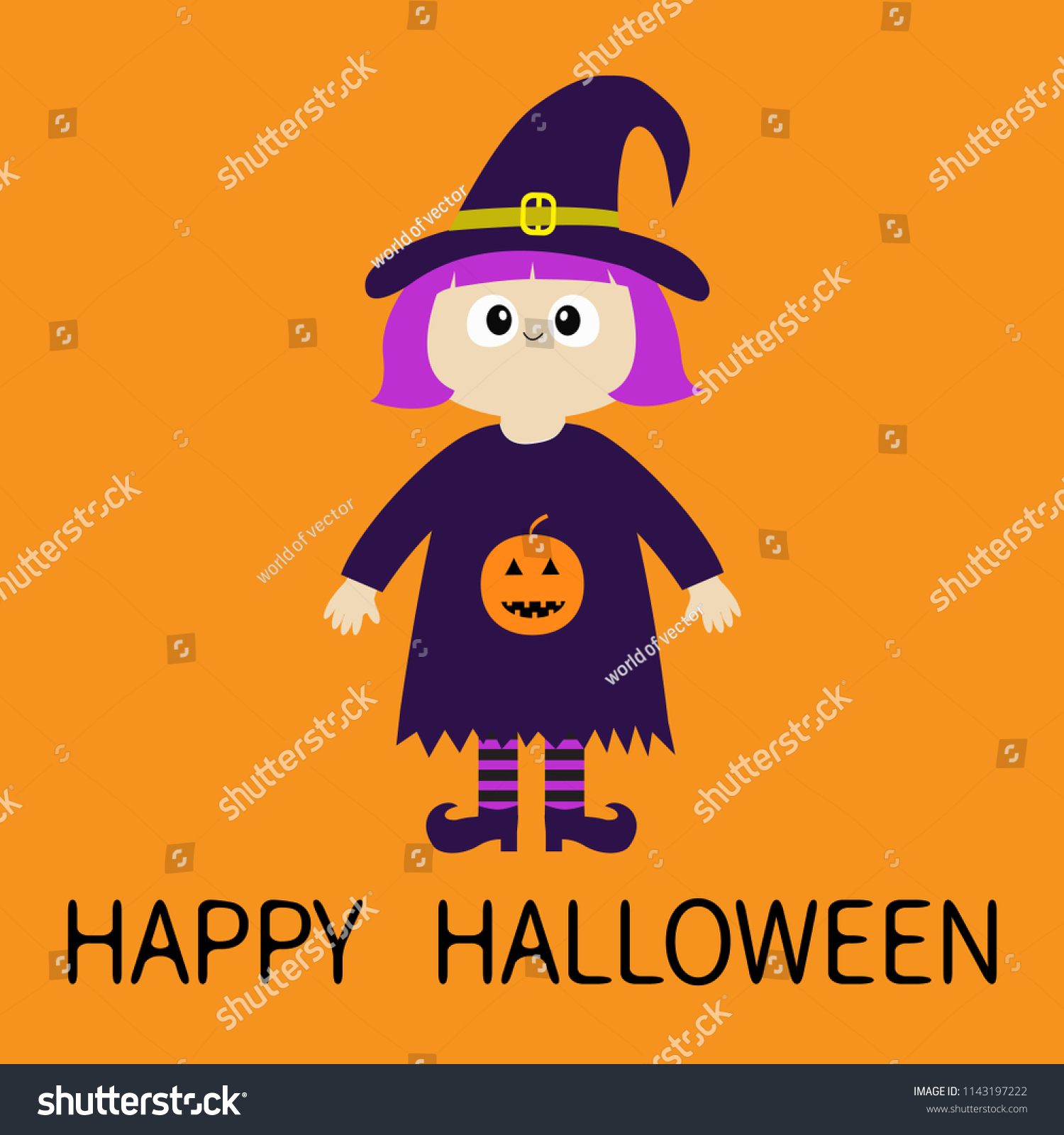 happy halloween girl wearing witch costume stock vector (royalty