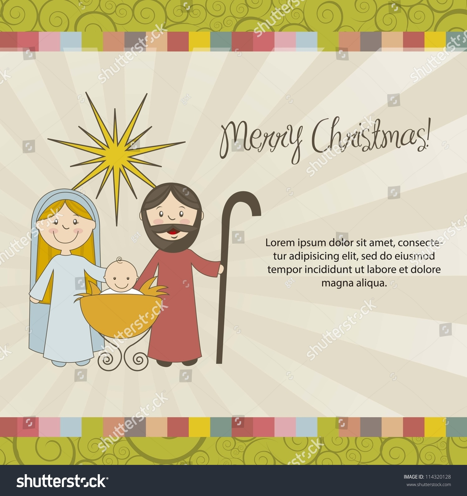 Christmas Card Nativity Scene Vintage Style Stock Vector (Royalty ...
