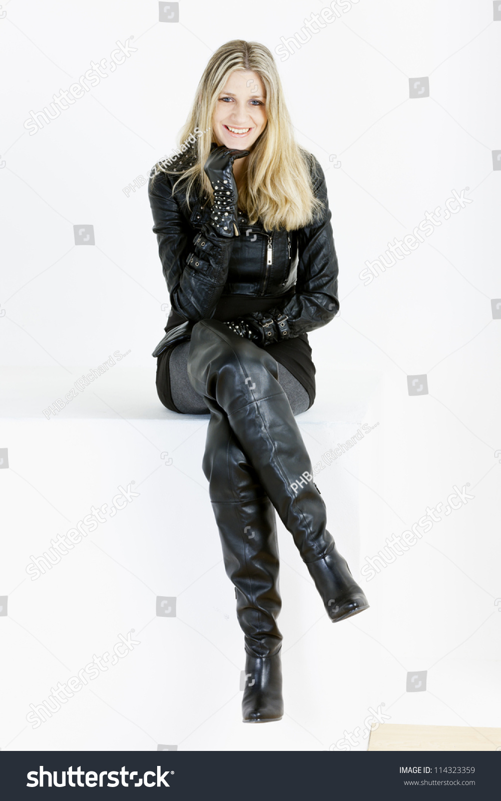 Sitting Woman Wearing Fashionable Black Boots Stock Photo ...