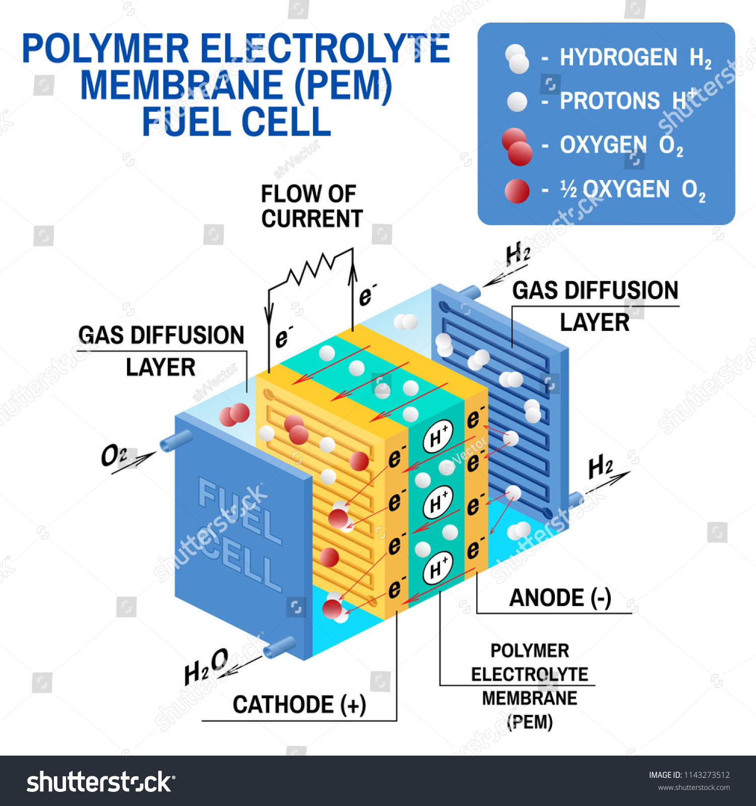 Fuel Cell Diagram Vector Device That Stock Vector