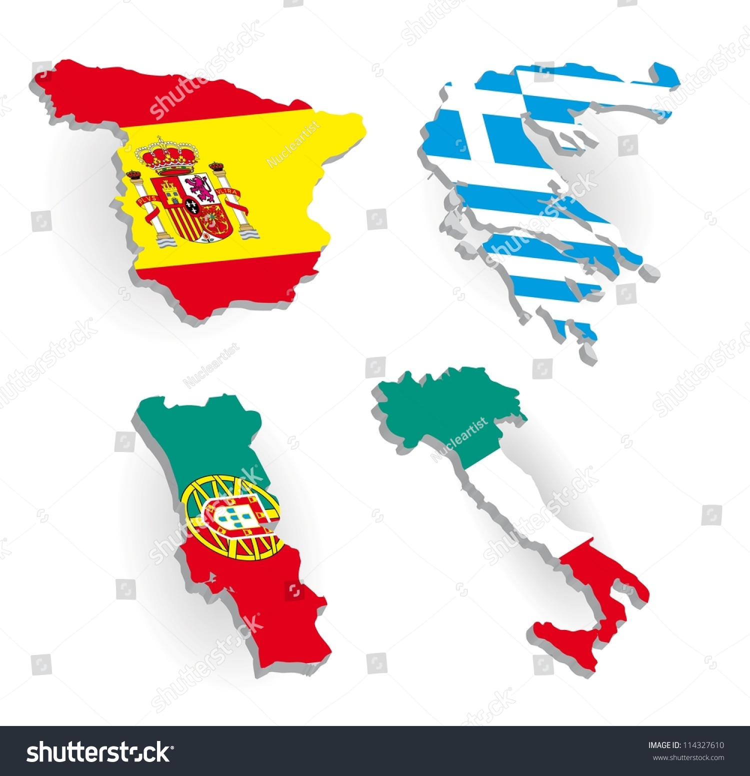 Greece Spain Portugal Italy Country Maps Stock Vector (Royalty Free ...