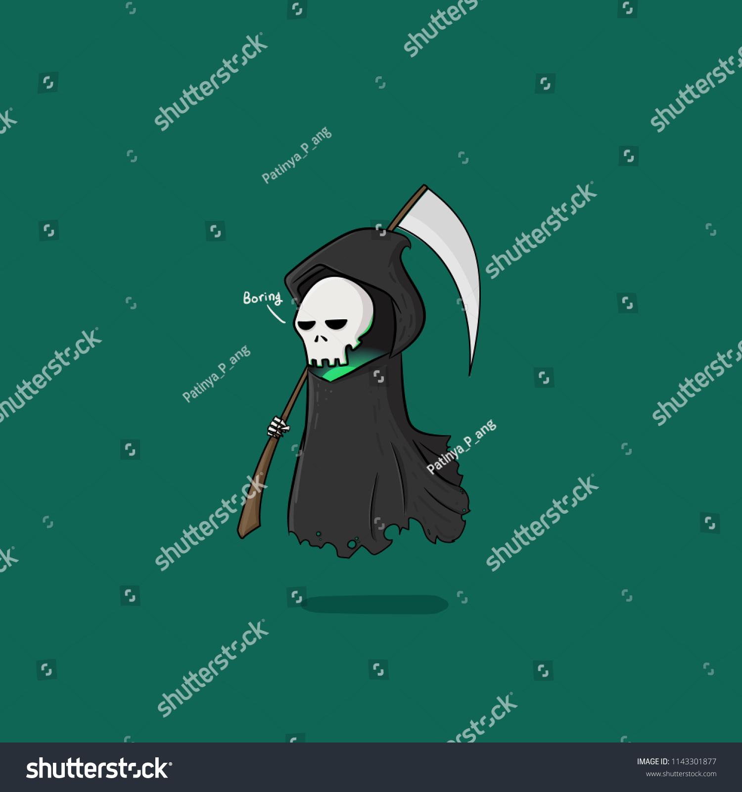 Hand Draw Boring Reaper Scythe Cartoon Stock Vector Royalty Free