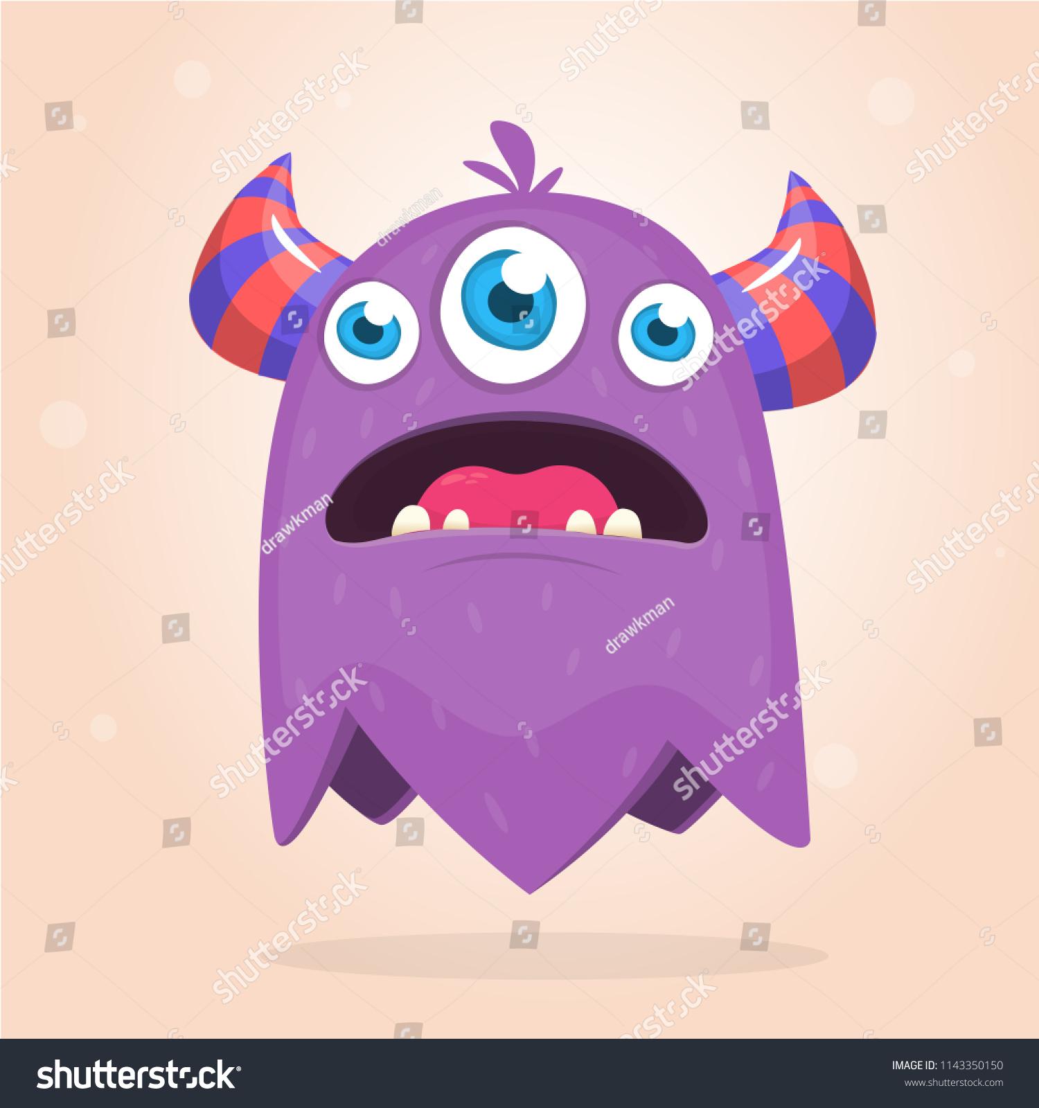 Angry Purple Cartoon Monster Horns Three Stock Vector Royalty Free 1143350150