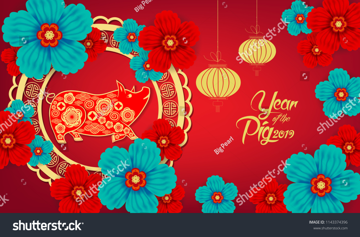 Happy Chinese New Year 2019 Year Stockillustration 1143374396