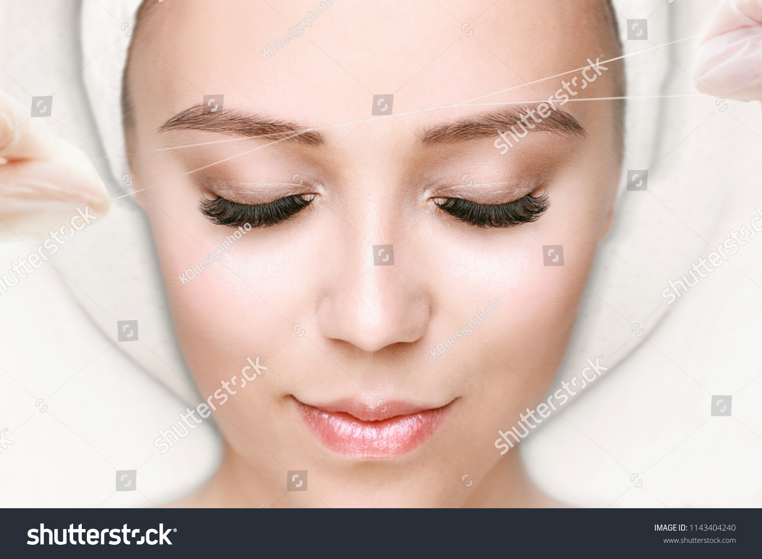 Beautiful Young Girl Tweezing Her Brows Stock Photo Edit Now