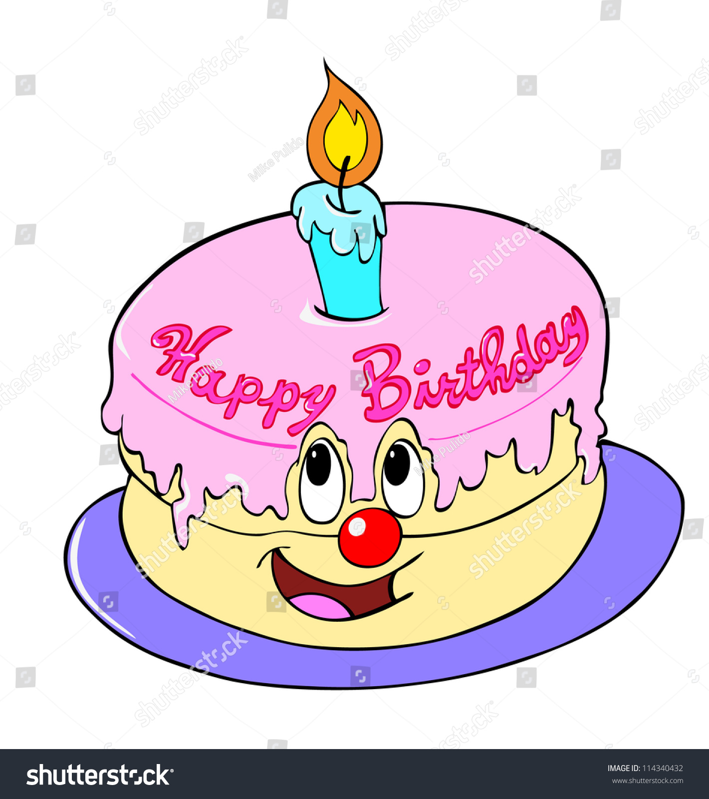 Hand Drawn Cartoon Of A Cake Happy Birthday Cake Stock