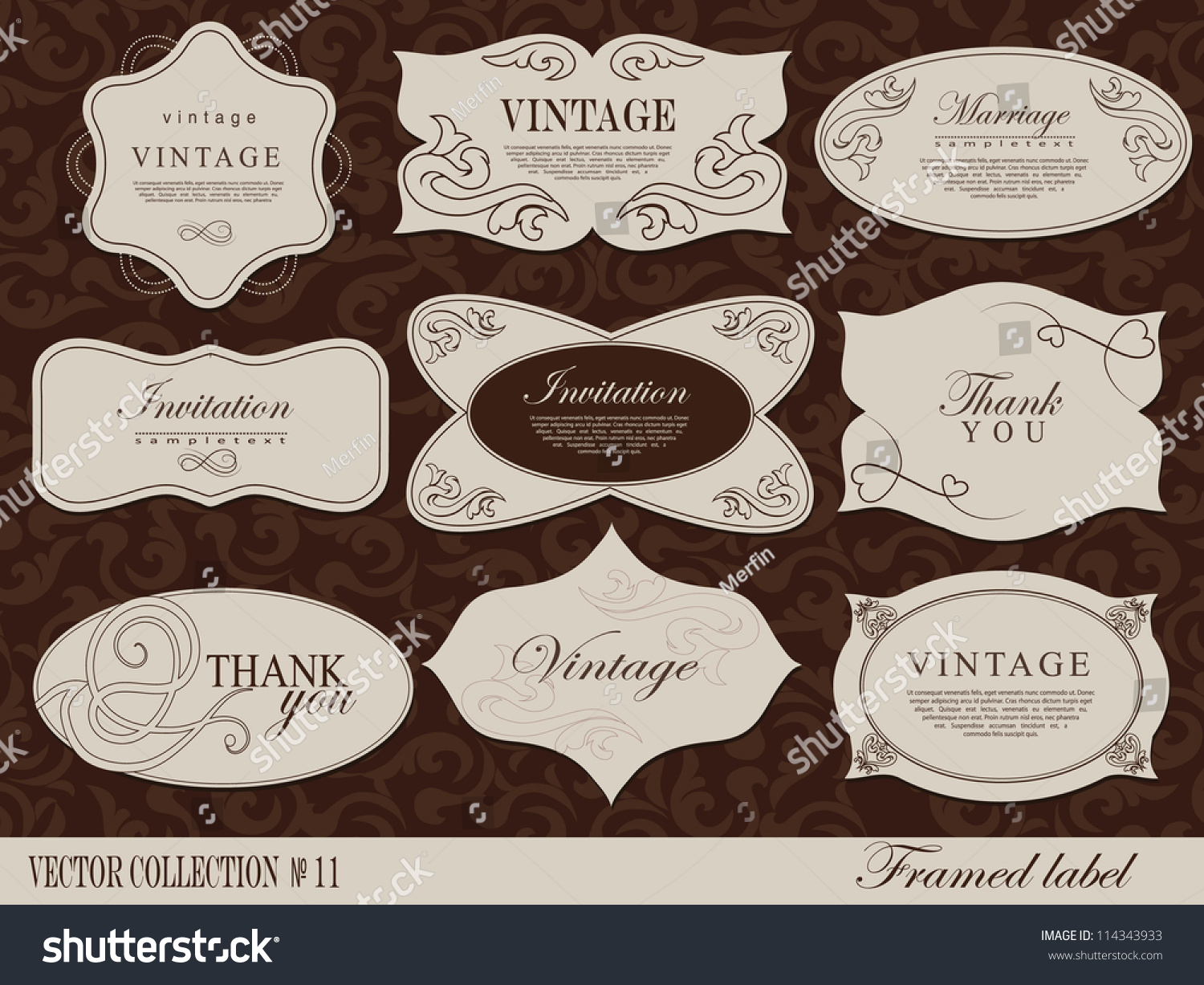 z label templates - retro vector framed label design template stock vector