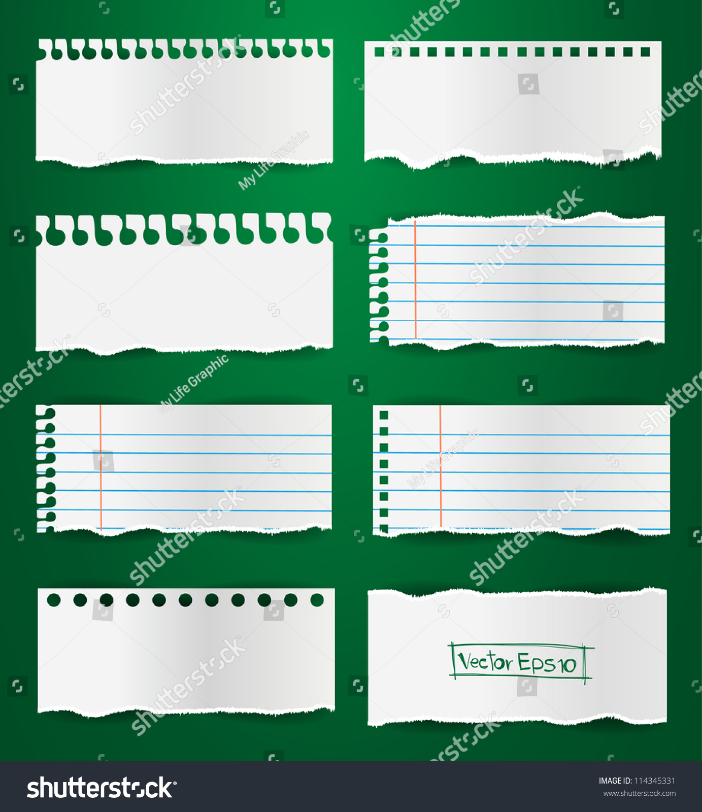 Collection Note Paper Vector, ( Teared Paper, Ripped Papers )  Collection Note