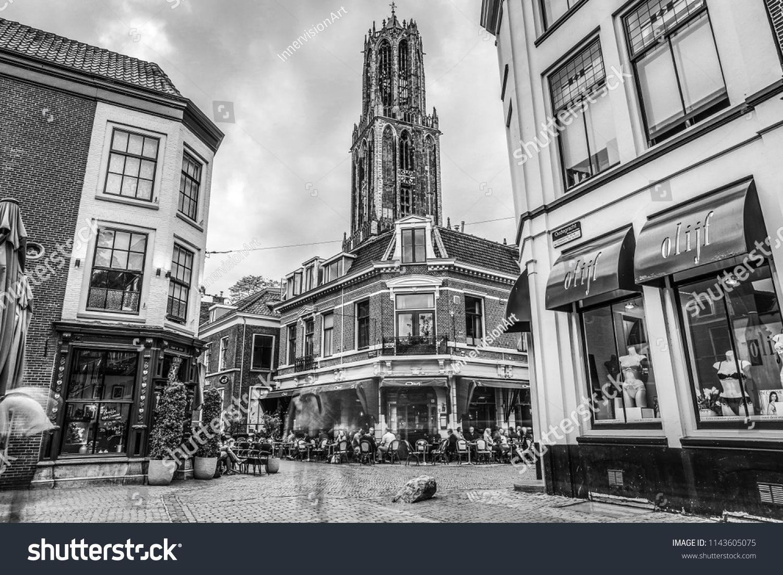 Netherlands utrecht may 27 2017 ancient european church black white