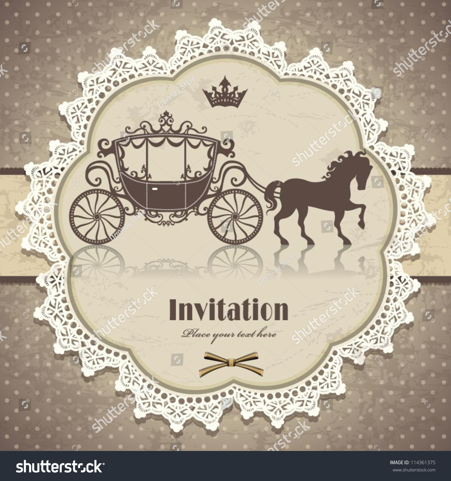 Vintage Horse Carriage Invitation Template Stock Vector 114361375 ...