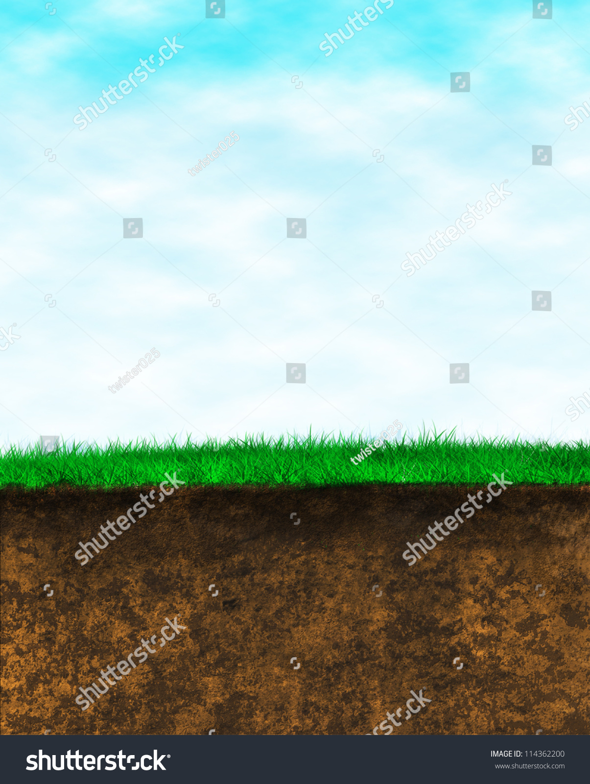 Blue Sky Green Grass Brown Earth Background. Portrait Oriented Cut Out... Wild Grass Over The ...