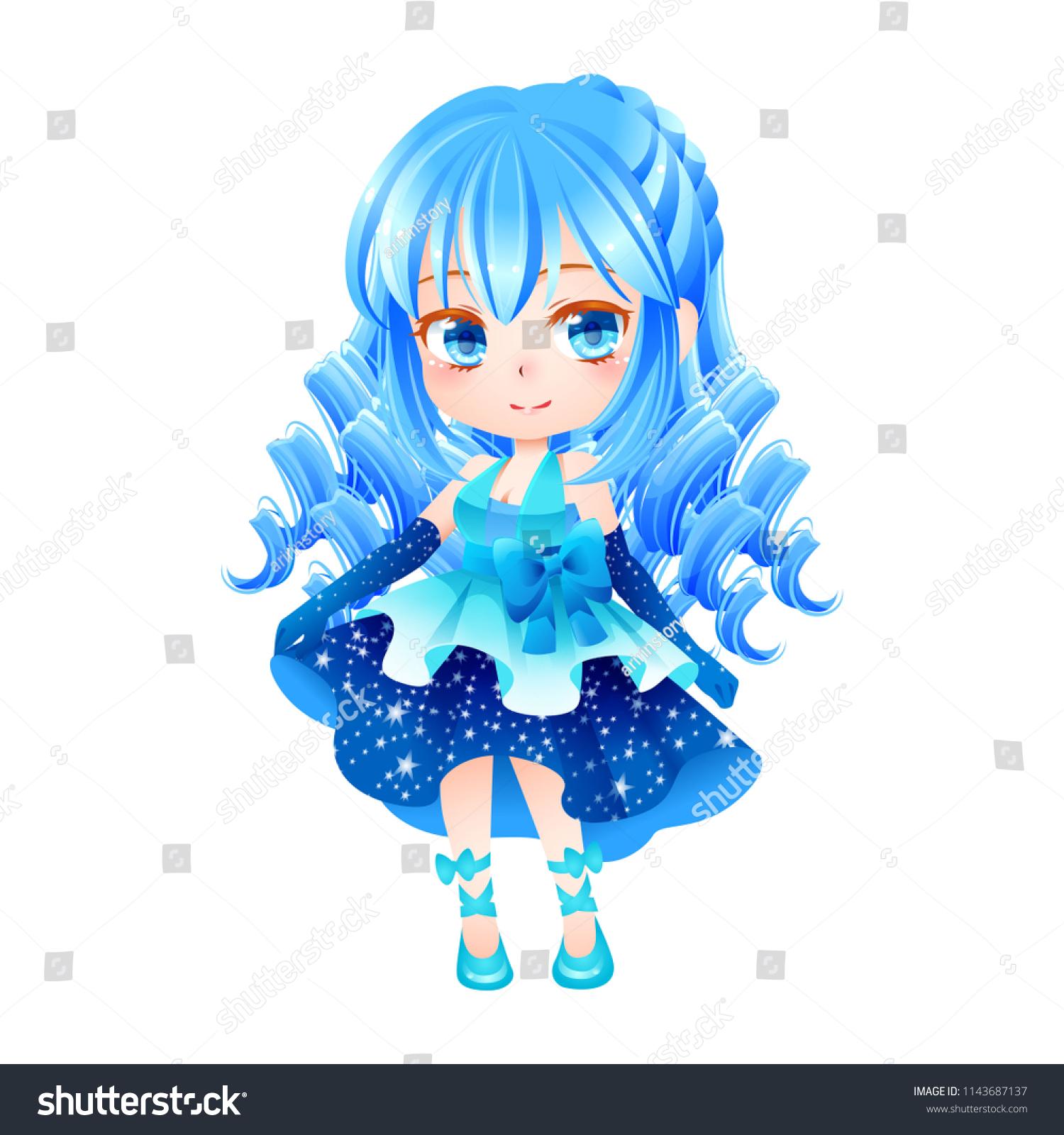 Cute Vector Illustration Beautiful Chibi Zodiac Stock Vector