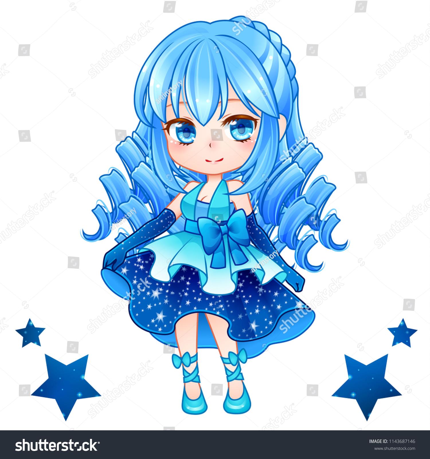Cute Vector Illustration Beautiful Chibi Zodiac Stock Vector Royalty Free 1143687146