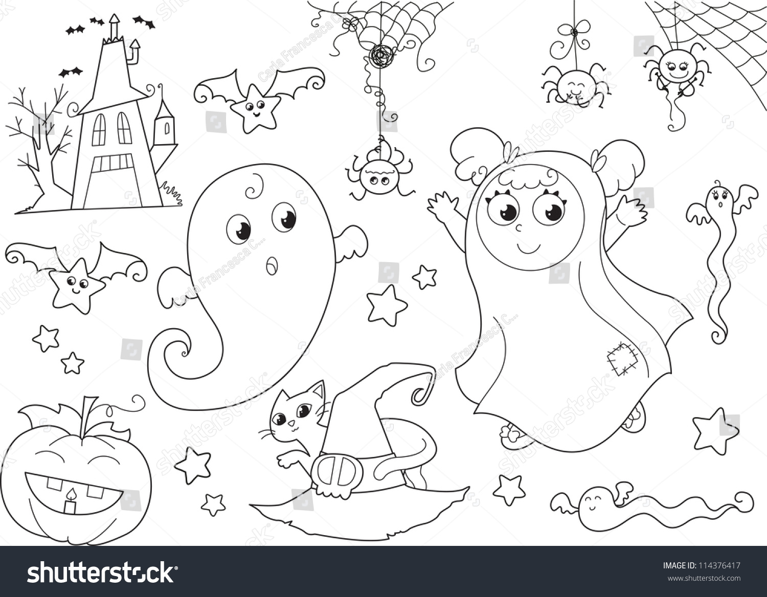 coloring halloween set cute ghosts masked stock vector 114376417