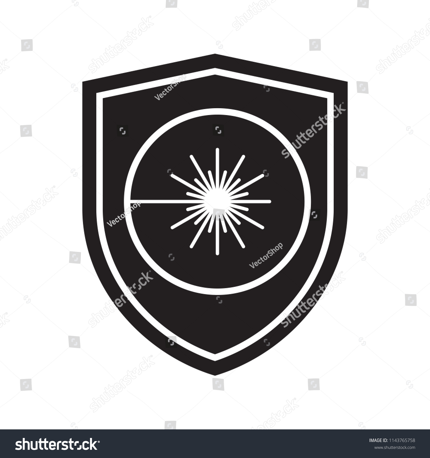 Icon Laser Radiation Shield Defense Protection Stock Vector Royalty