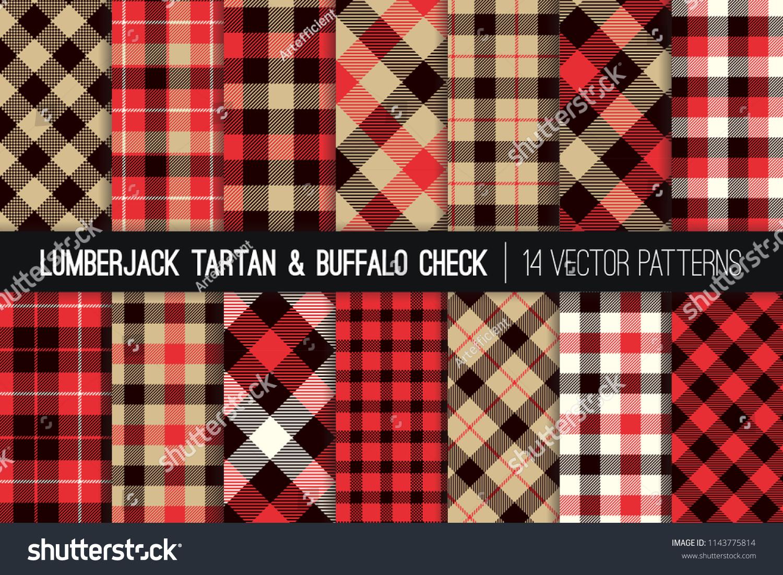 stock vector lumberjack tartan and buffalo check plaid vector patterns tan red black and white rustic 1143775814
