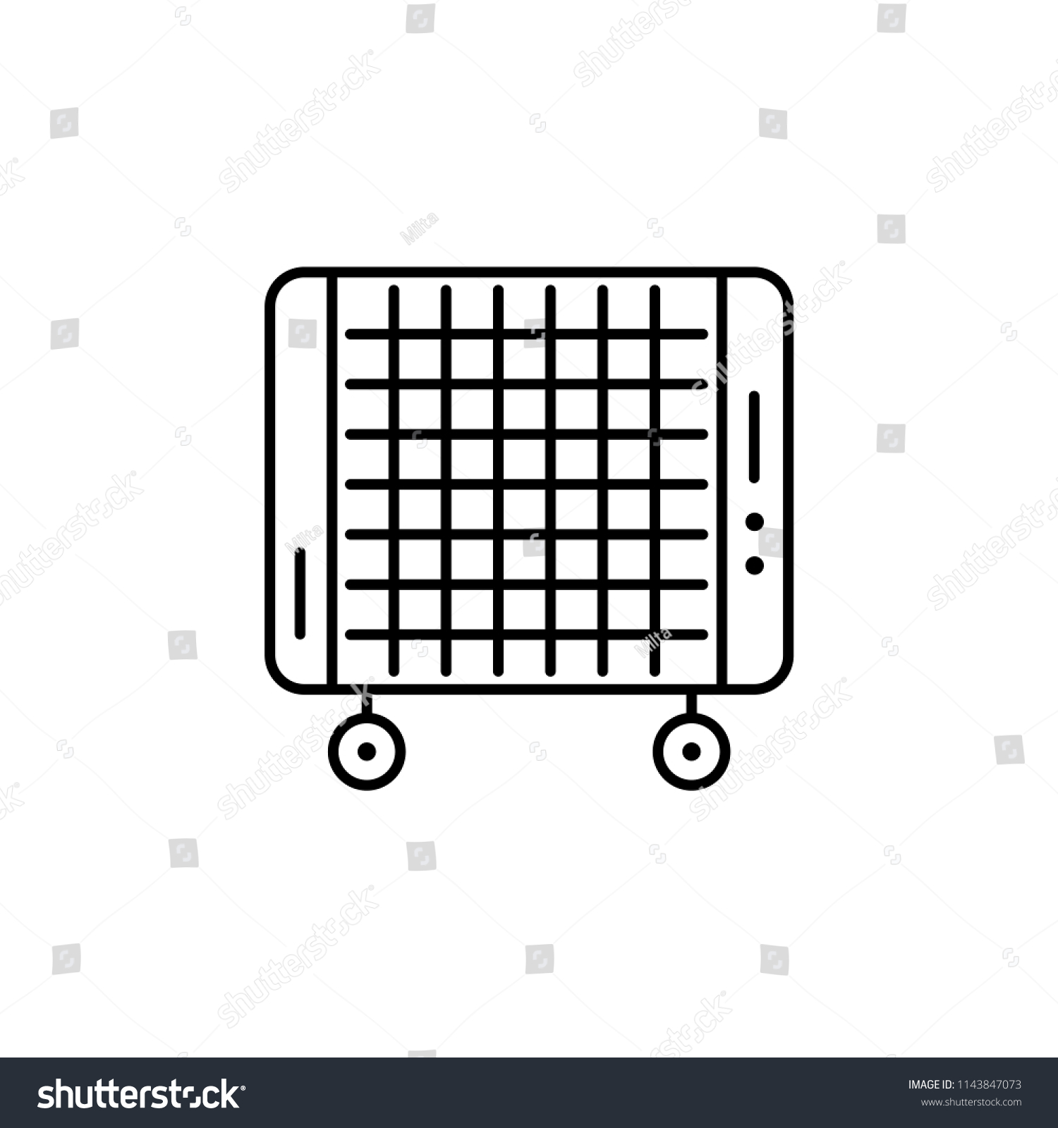 Vector illustration of portable micathermic heater. Line icon. Isolated  object on white background.
